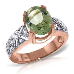 ALARRI 14K Solid Rose Gold Ring w/ Natural Diamonds & Green Amethyst
