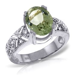 ALARRI 3.2 Carat 14K Solid White Gold Ring Natural Diamond Green Amethyst