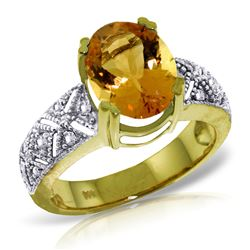 ALARRI 3.2 Carat 14K Solid Gold Everything Is Blooming Citrine Diamond Ring