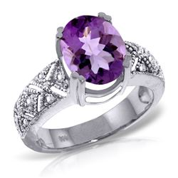 ALARRI 3.2 Carat 14K Solid White Gold Purple Fields Amethyst Diamond Ring