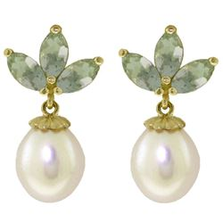 ALARRI 9.5 CTW 14K Solid Gold Dangling Earrings Pearl Green Amethyst