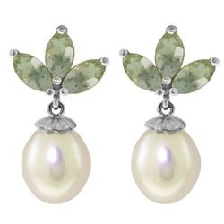 ALARRI 9.5 Carat 14K Solid White Gold Dangling Earrings Pearl Green Amethyst
