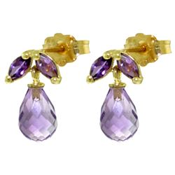 ALARRI 3.4 Carat 14K Solid Gold Wonderfully Performed Amethyst Earrings