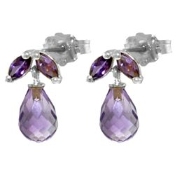 ALARRI 3.4 CTW 14K Solid White Gold Faust's Gretchen Amethyst Earrings