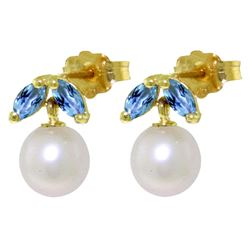 ALARRI 4.4 Carat 14K Solid Gold Stud Earrings Pearl Blue Topaz
