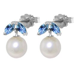 ALARRI 4.4 CTW 14K Solid White Gold Stud Earrings Pearl Blue Topaz