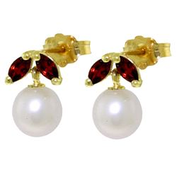 ALARRI 4.4 Carat 14K Solid Gold Stud Earrings Pearl Garnet