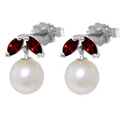 ALARRI 4.4 CTW 14K Solid White Gold Stud Earrings Pearl Garnet
