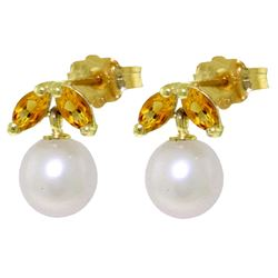 ALARRI 4.4 Carat 14K Solid Gold Stud Earrings Pearl Citrine