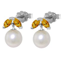 ALARRI 4.4 CTW 14K Solid White Gold Stud Earrings Pearl Citrine