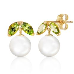 ALARRI 4.4 CTW 14K Solid Gold Stud Earrings Pearl Peridot