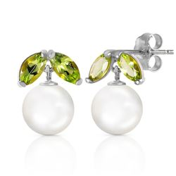 ALARRI 4.4 Carat 14K Solid White Gold Stud Earrings Pearl Peridot