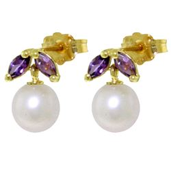 ALARRI 4.4 Carat 14K Solid Gold Stud Earrings Pearl Amethyst