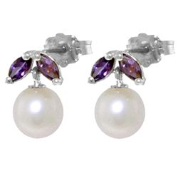 ALARRI 4.4 Carat 14K Solid White Gold Stud Earrings Pearl Amethyst