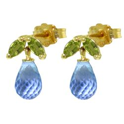 ALARRI 3.4 Carat 14K Solid Gold Stud Earrings Peridot Blue Topaz