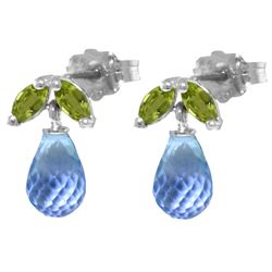 ALARRI 3.4 CTW 14K Solid White Gold Stud Earrings Peridot Blue Topaz