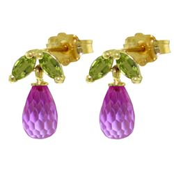 ALARRI 3.4 Carat 14K Solid Gold Stud Earrings Peridot Pink Topaz