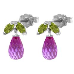 ALARRI 3.4 Carat 14K Solid White Gold Stud Earrings Peridot Pink Topaz