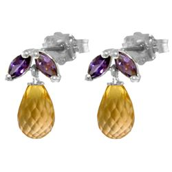 ALARRI 3.4 Carat 14K Solid White Gold Stud Earrings Amethyst Citrine