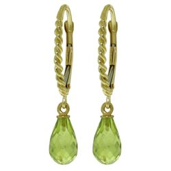 ALARRI 3 CTW 14K Solid Gold Leverback Earrings Briolette Peridot