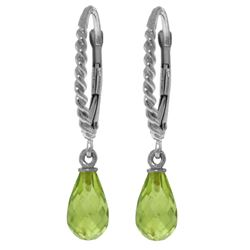 ALARRI 3 Carat 14K Solid White Gold Leverback Earrings Briolette Peridot
