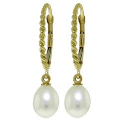 ALARRI 8 CTW 14K Solid Gold Leverback Earrings Briolette Pearl