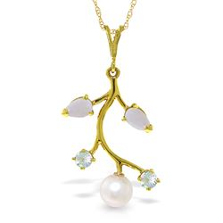 ALARRI 2.45 Carat 14K Solid Gold Necklace Opal, Aquamarine Pearl