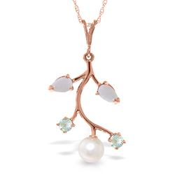 ALARRI 14K Solid Rose Gold Necklace w/ Opals, Aquamarines & Pearl