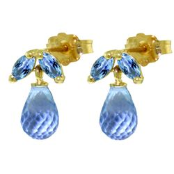 ALARRI 3.4 Carat 14K Solid Gold Distrustful Angel Blue Topaz Earrings
