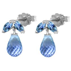 ALARRI 3.4 CTW 14K Solid White Gold Vous Les Femmes Blue Topaz Earrings