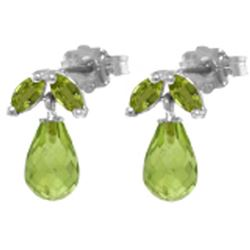 ALARRI 3.4 Carat 14K Solid White Gold Welcome The Uexpected Peridot Earrings