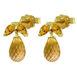 ALARRI 3.4 CTW 14K Solid Gold House Of Fun Citrine Earrings