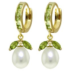 ALARRI 10.3 Carat 14K Solid Gold Majorca Peridot Pearl Earrings