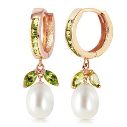 ALARRI 14K Solid Rose Gold Hoop Earrings w/ Peridots & Pearls