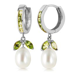 ALARRI 10.3 Carat 14K Solid White Gold Same Direction Peridot Pearl Earrings