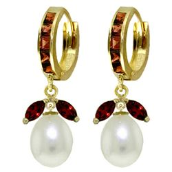 ALARRI 10.3 Carat 14K Solid Gold Majorca Garnet Pearl Earrings
