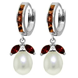 ALARRI 10.3 CTW 14K Solid White Gold Not Calculated Garnet Pearl Earrings