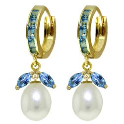 ALARRI 10.3 Carat 14K Solid Gold Majorca Blue Topaz Pearl Earrings