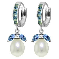 ALARRI 10.3 Carat 14K Solid White Gold Love Pearl Blue Topaz Pearl Earrings