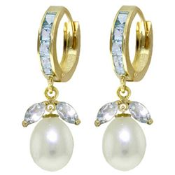 ALARRI 10.3 CTW 14K Solid Gold Majorca Aquamarine Pearl Earrings