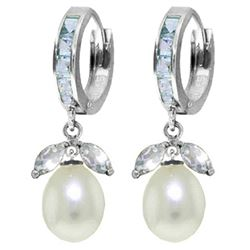 ALARRI 10.3 Carat 14K Solid White Gold Pearl Lover Aquamarine Pearl Earrings