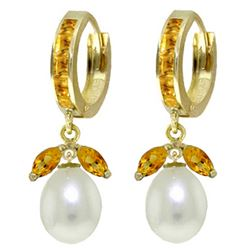 ALARRI 10.3 Carat 14K Solid Gold Majorca Citrine Pearl Earrings