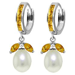 ALARRI 10.3 Carat 14K Solid White Gold Pearl Proud Citrine Pearl Earrings