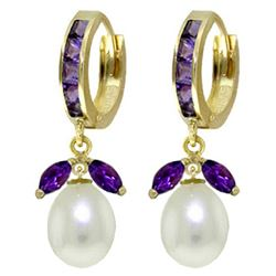 ALARRI 10.3 Carat 14K Solid Gold Majorca Amethyst Pearl Earrings