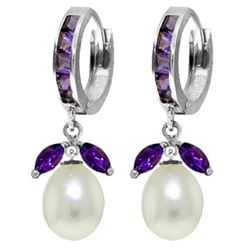 ALARRI 10.3 Carat 14K Solid White Gold Love Religion Amethyst Pearl Earrings