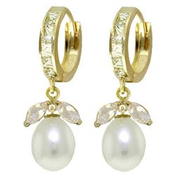ALARRI 10.3 Carat 14K Solid Gold Majorca White Topaz Pearl Earrings