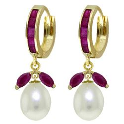 ALARRI 10.3 Carat 14K Solid Gold Majorca Ruby Pearl Earrings