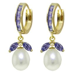 ALARRI 10.3 Carat 14K Solid Gold Hoop Earrings Tanzanite Pearl