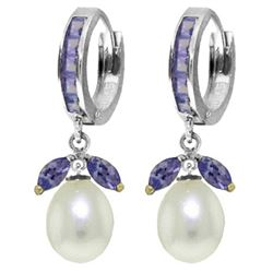 ALARRI 10.3 Carat 14K Solid White Gold Hoop Earrings Tanzanite Pearl