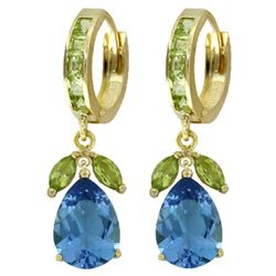 ALARRI 14.3 Carat 14K Solid Gold Perpetual Peridot Blue Topaz Earrings